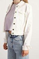 Shopping Shop Kadın Beyaz Denim Crop Ceket