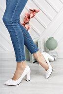 Nirvana ayakkabı Kadın Beyaz Cilt Yüksek Kalın Topuklu Ayakkabı
