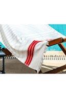 Madame Coco Antibes Armürlü Plaj Havlusu - Turkuaz / Mercan - 75x150 Cm