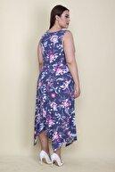 Şans Kadın İndigo Bel Detaylı Çiçek Desenli Uzun Kolsuz Elbise 65N26049