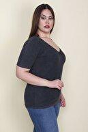Şans Kadın Füme Dantel Detaylı V Yaka Likralı Bluz  65N26125