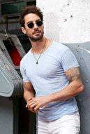 Sateen Men Erkek Mavi Slim Fit B Yaka T-Shirt