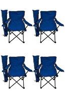 Bofigo 4'lü Kamp Sandalyesi Piknik Sandalyesi Katlanır Sandalye Taşıma Çantalı Kamp Sandalyesi Mavi