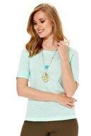 İkiler Kadın Mint Yeşili Kısa Kol Kol Ucu Yırtmaçlı Bluz 018-1609