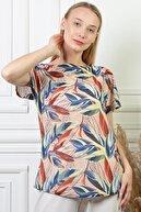 PİNKMARK Pınkmark Kadın Yaprak Desenli Toprak Pamuk Büyük Beden Bluz Pmbl24494