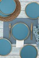 Keramika Mat Mavi Gold File Nordic Pasta Tabağı 22 Cm 6 Adet