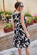 armonika Kadın Siyah İnek Desenli Fırfırlı Kolsuz Elbise ARM-21Y001032