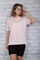 BAYGENTLE Boyfriend Kesim Açık Somon Örme T-shirt Kadın Oversize %100 Pamuk