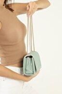 mx modex Su Yeşili Kadın Dikişli Kumaş Zincir Detaylı Omuz Çantası