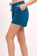 Mossta Kadın Kısa Penye Şort Petrol