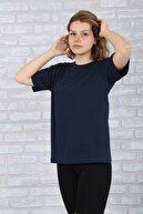 BAYGENTLE Boyfriend Kesim Lacivert Örme Kadın Oversize T-shirt %100 Pamuk
