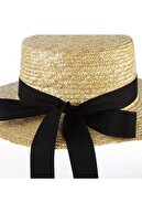 NominiButik Kadın Kurdeleli Hasır Şapka