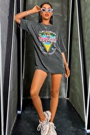 Millionaire Kadın Gri Siyah Los Angeles Palmiye Oversize T-shirt