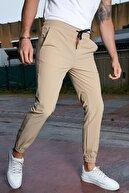 Sateen Men Erkek Bej Bileği Lastikli Jogger Pantolon