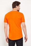 westkombin Erkek Turuncu Pis Yaka Basic T-shirt
