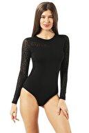 ÖZKAN underwear Kadın Siyah Çıtçıtlı Body 22771