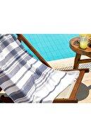 Madame Coco Fabroni Armürlü Plaj Havlusu - Lacivert / Gri - 75x150 Cm