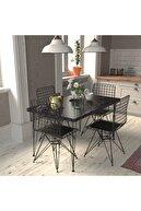Cosargroup Masa Sandalye Takımı Mermer Desen 110x70 Cm Masa 4 Sandalye Seti