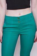 Jument Normal Bel Kalın Kemerli Cepli Bilek Boy Kumaş Pantolon Yeşil