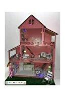 MYS Ahşap Işıklı Ve Bahçeli Ahşap Barbie Bebek Oyun Evi