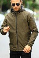 River Club Erkek Haki Içi Astarlı Suya Dayanıklı Kapüşonlu Cepli Yağmurluk - Rüzgarlık Ceket