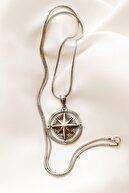 Piraye Silver 925 Ayar Gümüş Çift Yönlü Pusula Kolye 65 Cm Zincirli