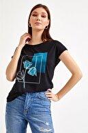 İkiler Kadın Siyah Önü Baskılı Düşük Kol Bluz 021-1010
