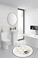 Colizon Dekoratif Yıkanabilir Kaymaz Tabanlı Yuvarlak Banyo Paspası
