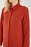 Zühre Kadın Gömlek Yaka Çizgili Kiremit Tunik T-0767