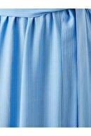 Koton Kadın PEMBE ÇİZGİLİ Uzun Elbise Kemerli V Yaka Kisa Kollu