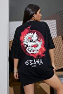 Millionaire Siyah Osaka Dragon Japonca Baskılı Oversize Salaş Kadın T-shirt