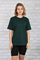 BAYGENTLE Kadın Yeşil Pamuklu Tişört