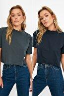 TRENDYOLMİLLA Lacivert-Füme 2'li Paket Crop Örme T-Shirt TWOSS21TS3901