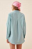 Happiness İst. Kadın Su Yeşili Oversize Uzun Basic Gömlek  DD00842