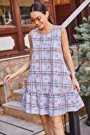 armonika Kadın Bebe Mavi Kareli Eteği Fırfırlı Kolsuz Kısa Elbise ARM-21Y001039