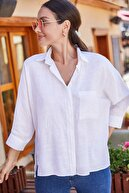 armonika Kadın Beyaz Cepli Salaş Keten Gömlek ARM-21Y001035
