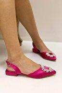 Nil Shoes Fuşya Saten Levi Taşlı Babet