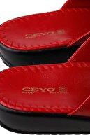 Ceyo Kırmızı Kadın Terlik 9200-2 Parmaktan Geçmeli