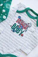 Mika Bebek Uzay Baskılı 6 Parça 3 Set Alt Üst Çıtçıtlı Kendinden Patikli Takım
