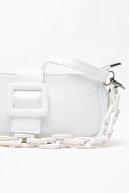 Ludo Vico Kadın Tokalı Zincir Çanta Beyaz (BOYUTU KÜÇÜKTÜR)