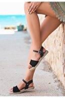 Espardile Keha Siyah Örgülü Sandalet