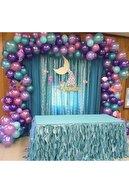 MERİ PARTİ Deniz Kızı Konsept Metalik Balon Ve Balon Zinciri