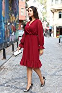 AVVER Kadın Bordo Astarlı Kruvaze Şifon Elbise