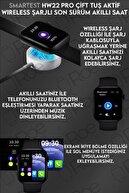 SMARTEST Hw22 Pro Çift Tuş Aktif Wireless Şarjlı Ekg Nabız Tansiyon Ölçer Suya Dayanıklı Ios&android Uyumlu