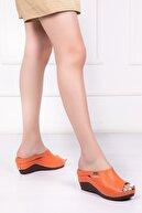 Deripabuc Hakiki Deri Orange Kadın Deri Terlik Dp16-1001