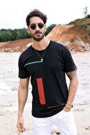 Sateen Men Erkek Siyah Çizgi Baskı Armalı T-Shirt