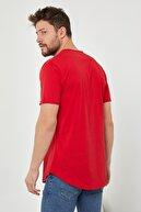 Tarz Cool Erkek Kırmızı Pis Yaka Salaş T-shirt-tcps001r57s