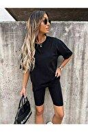 ronay giyim Basic Oversize Tişört Ve Tayt Takım Penye Kumaş