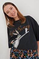 blackjack giyim Siyah Bugsbunny Oversize T-shirt