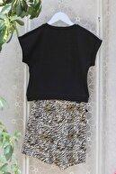 indokids Kız Çocuk Siyah Sıfır Yaka Yüksek Nakışlı Beli Bağlama Detaylı Bluz Dokuma Şort Etek Takım IND999922